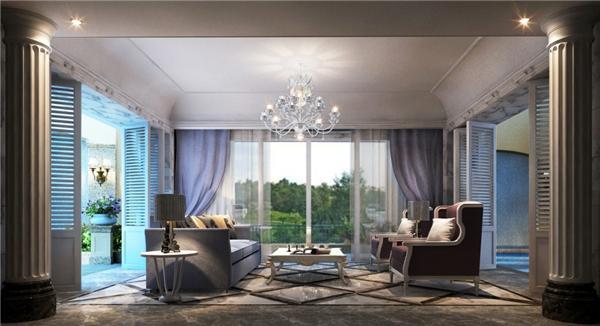 纳帕溪墅联排别墅1301户型别墅负一层会客厅简欧风格效果图